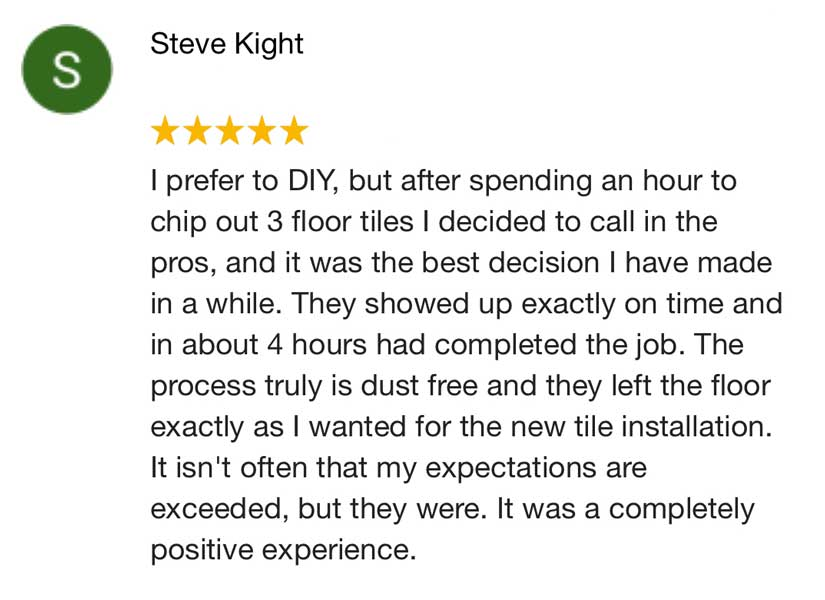 Review from a customer who tried do-it-yourself tile removal.