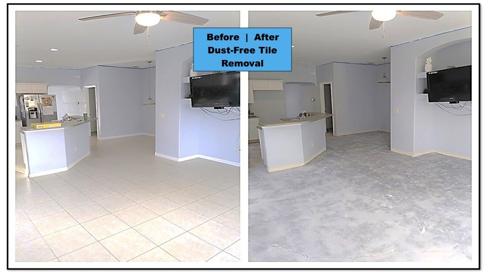 We removed this home's kitchen and living room flooring in preparation for a beautiful new look.