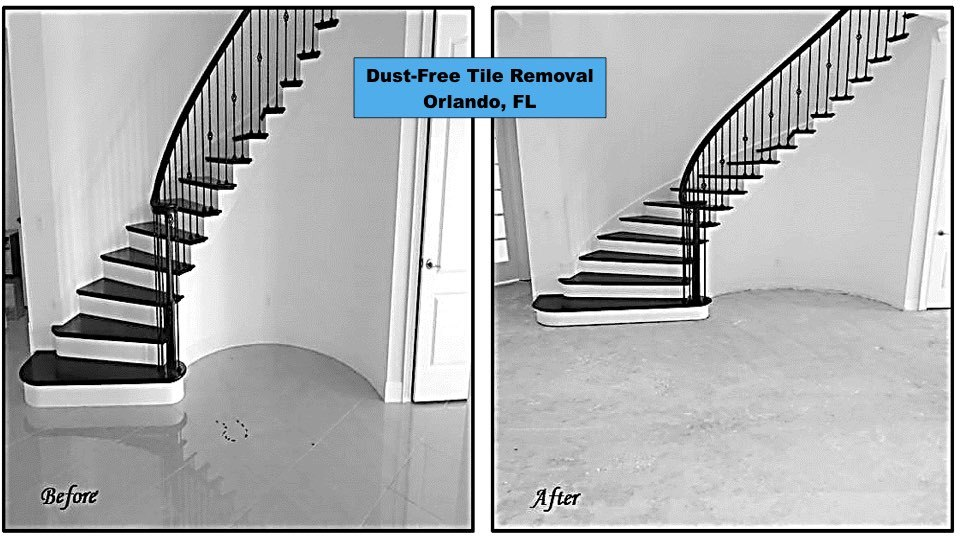 Before and after of our foyer floor removal in an Orlando Florida home.
