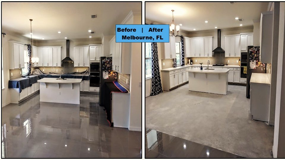 The kitchen in a Melbourne Florida home gets a floor demo in preparation for a attractive new look.