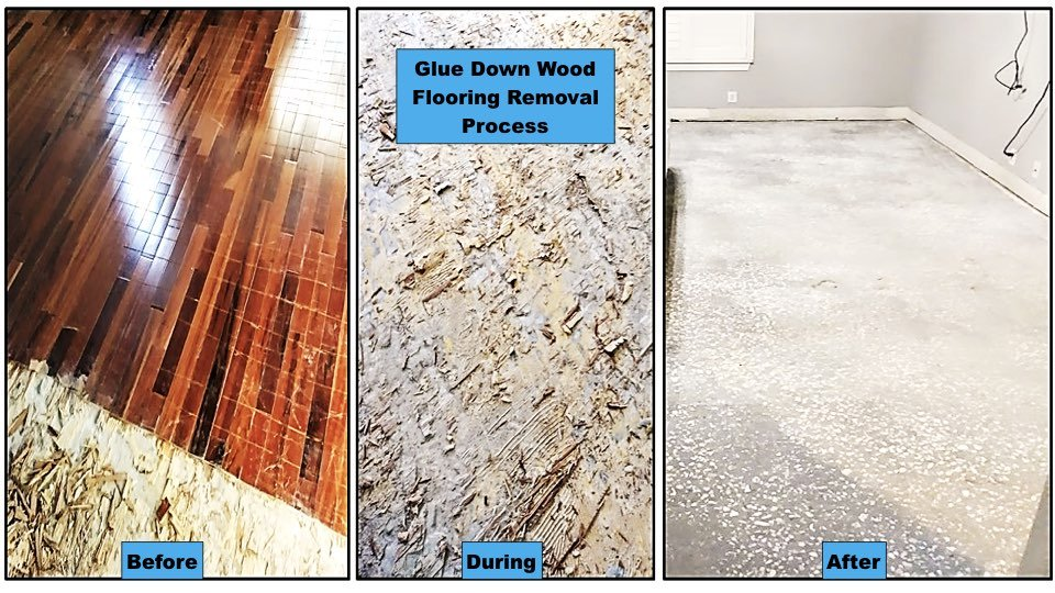 We remove a badly worn wood floor to prepare this room for a great new look.