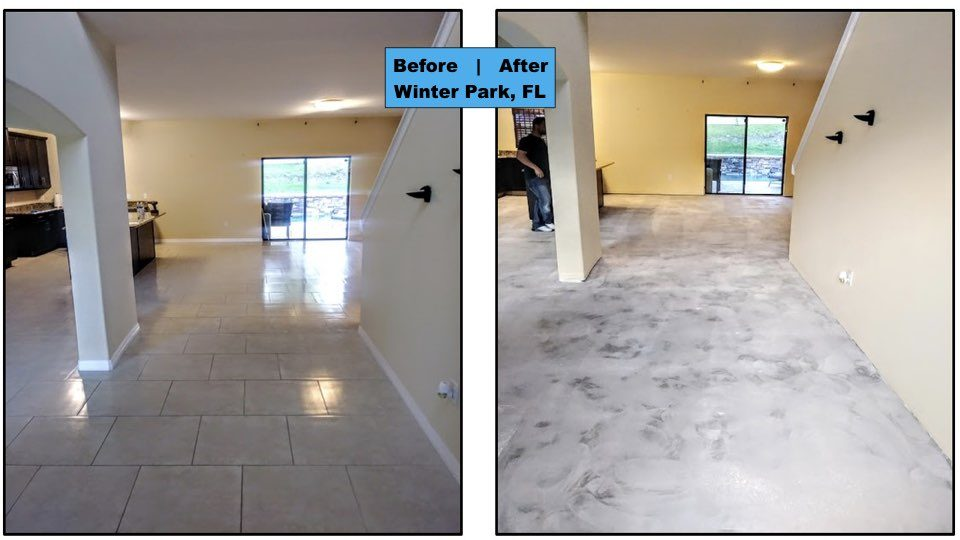 Central Florida Dust-Free Tile Removal removes the old flooring in this Winter Park Florida home.