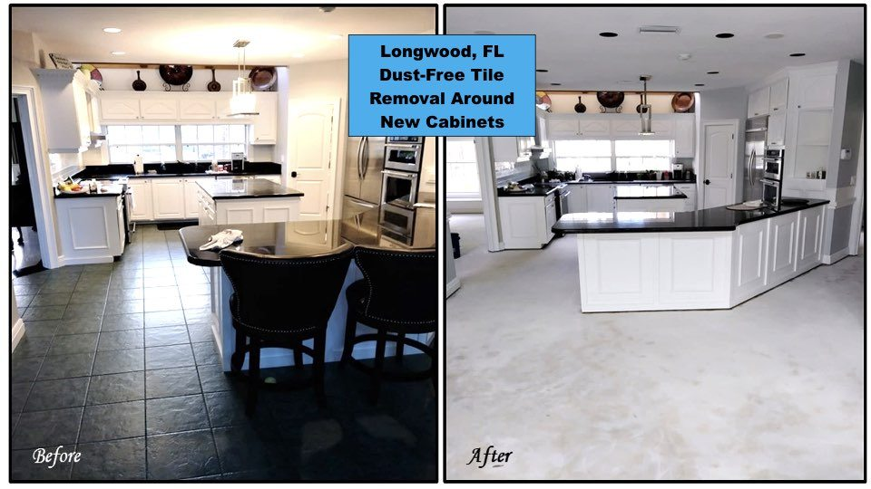 We removed the tile in this Longwood kitchen without ruining brand new cabinets that were just installed