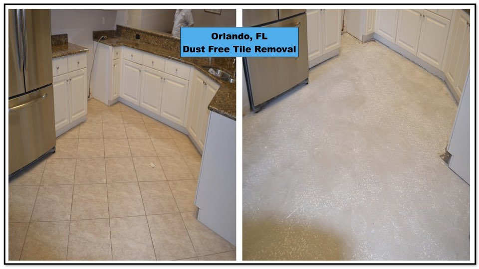 Before and After tile removal in this Orlando kitchen