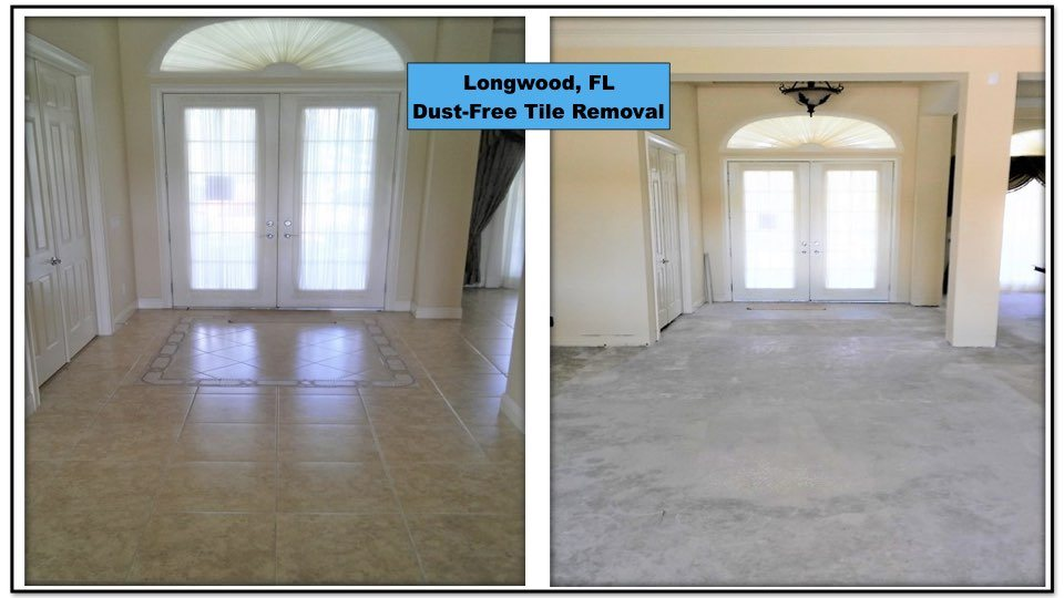 Dust-free tile removal in this Longwood home