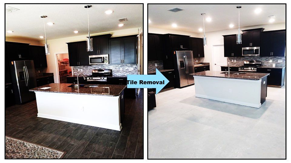 Before and After tile removal in a kitchen