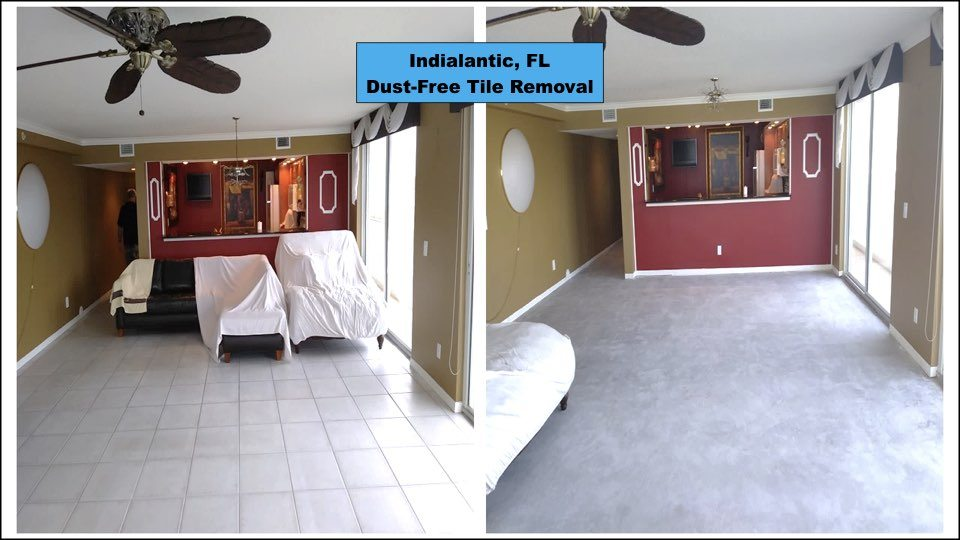 Before and After tile removal in an Indialantic home