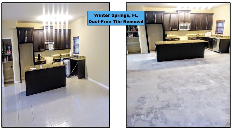 Dust-free tile removal in a Winter Springs home.