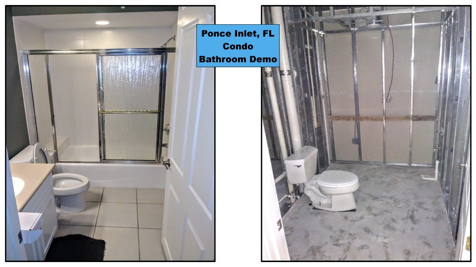 Before and After tile removal in a Ponce Inlet condo bathroom.