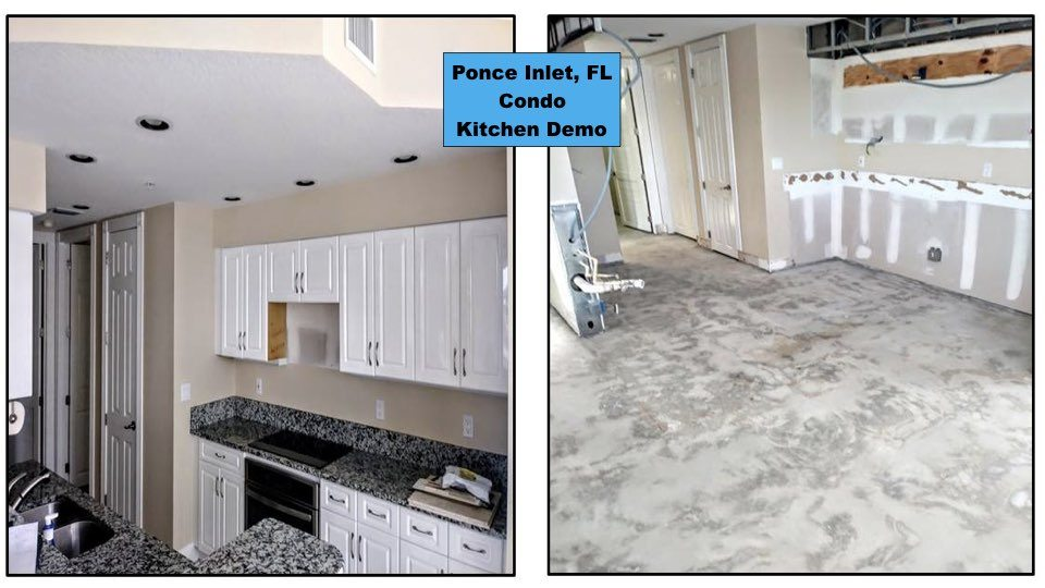 Before and After kitchen tile removal in a Ponce Inlet home.