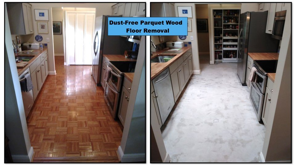 Before and after a parquet wood removal.