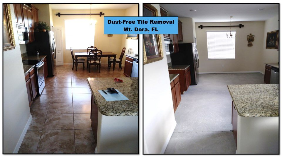 Before and after kitchen tile removal in Mt. Dora.