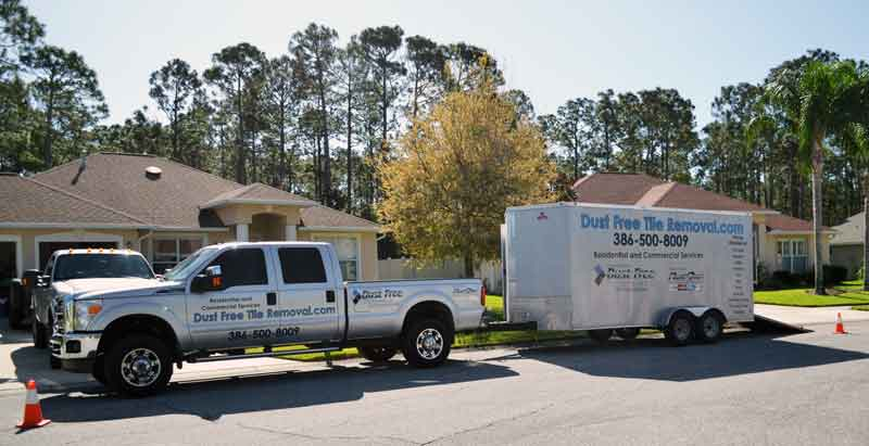 Our truck carrying the DustRam® system arrives at your home